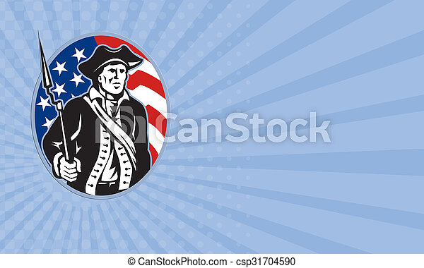 Business card American Patriot Minuteman With Bayonet Rifle And Flag - csp31704590