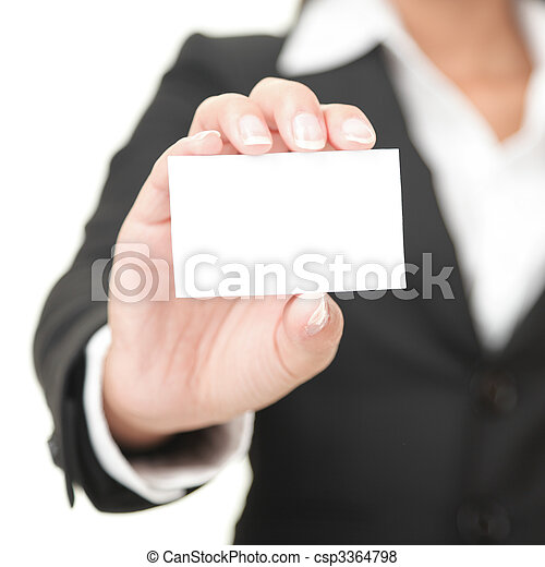 Business card - businesswoman holding blank sign - csp3364798