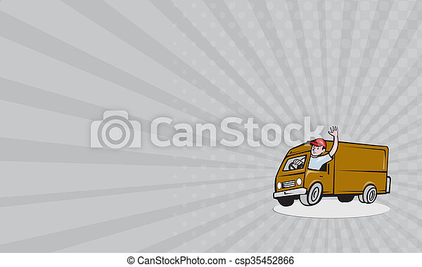 Business card Delivery Man Waving Driving Van Cartoon - csp35452866