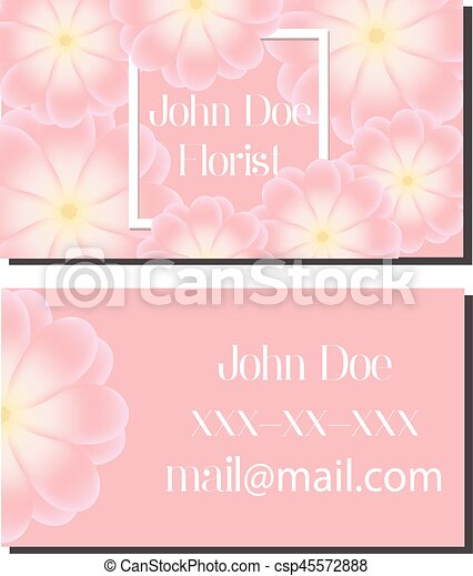Business card design template. Vector flyer for florist, wedding events managment, flower shops and other - csp45572888