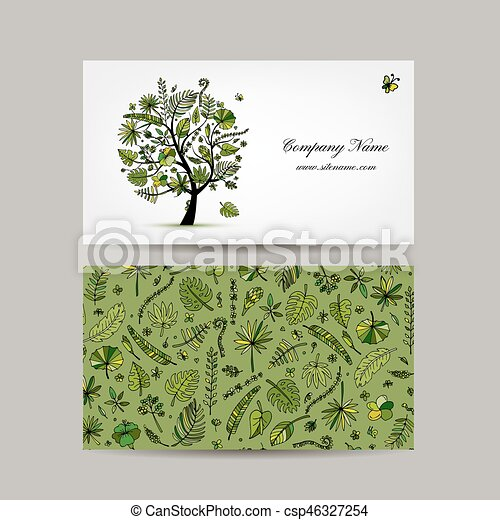 business card design tropical tree csp46327254