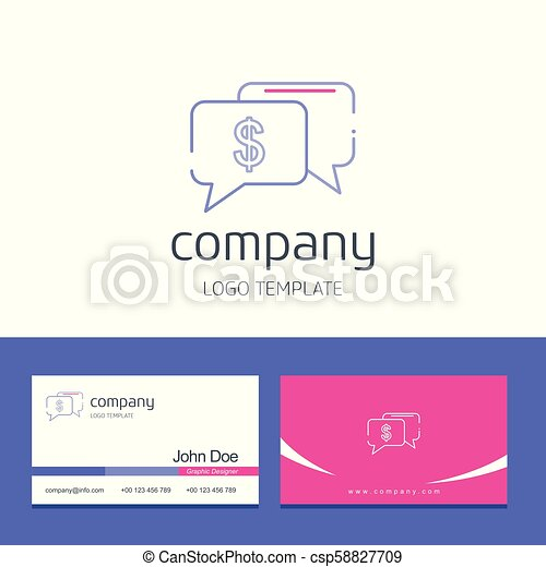Business card design with company logo vector - csp58827709