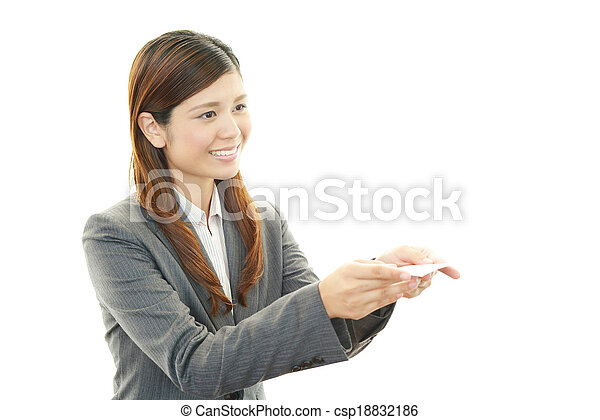 Business card exchange the beautiful business woman who poses happily business card exchange csp18832186 reheart Image collections