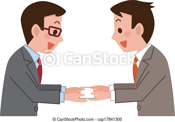 Business card exchange businessmen exchanging business vector business card exchange csp17841300 colourmoves Images