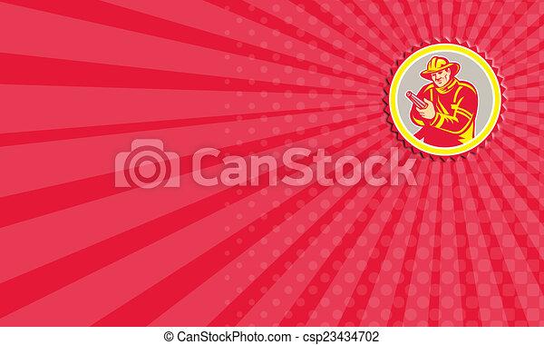 Business card Fireman Firefighter Aiming Fire Hose Rosette - csp23434702