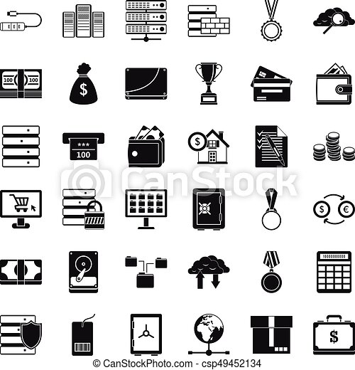 Business card icons set simple style business card icons set business card icons set simple style csp49452134 reheart Images