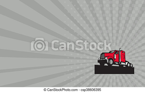 Business card Semi Truck Tractor Low Angle Retro - csp38606395