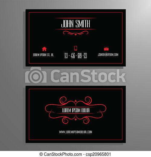 Business card template red black professional business vector business card template red black csp20965801 wajeb Gallery