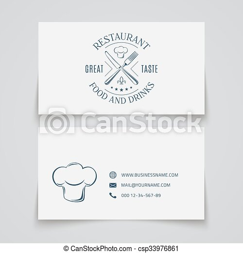 Business card template with logo for restaurant business card vector business card template with logo for restaurant csp33976861 reheart Choice Image