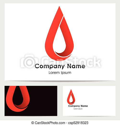 business card template with logo red drop