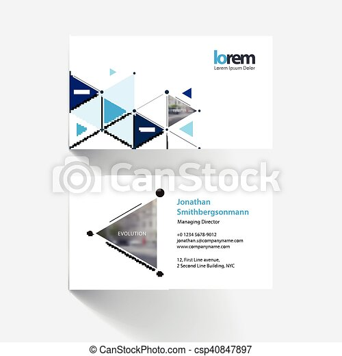 business card template with triangles and arrows for business and rh canstockphoto com Business Card Icon Business Card Icon