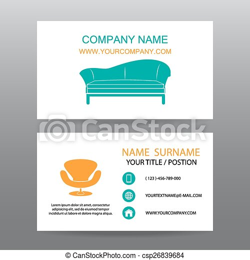 Business card vector background,Home Office - csp26839684