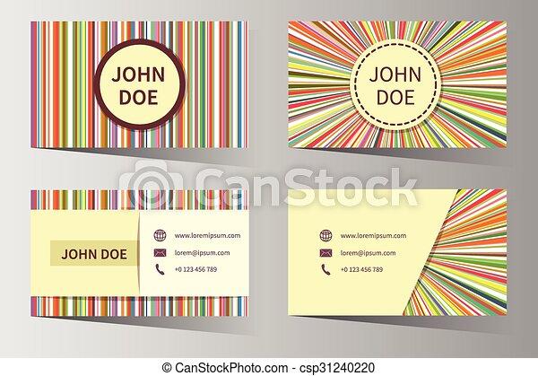 Business card vector templates with rainbow stripes design contact business card vector templates with rainbow stripes design reheart Images