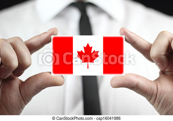 business card with a Canada Flag - csp16041986