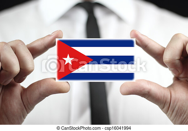 business card with a Cuba Flag - csp16041994