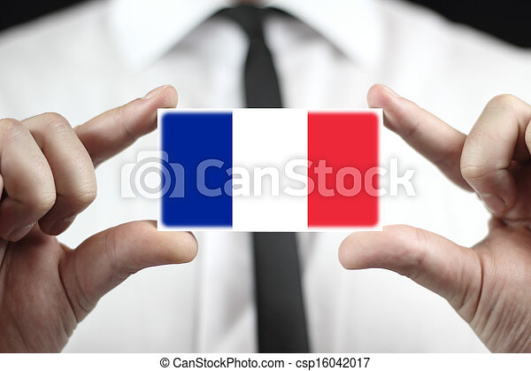business card with a France Flag - csp16042017