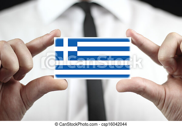 business card with a Greece Flag - csp16042044