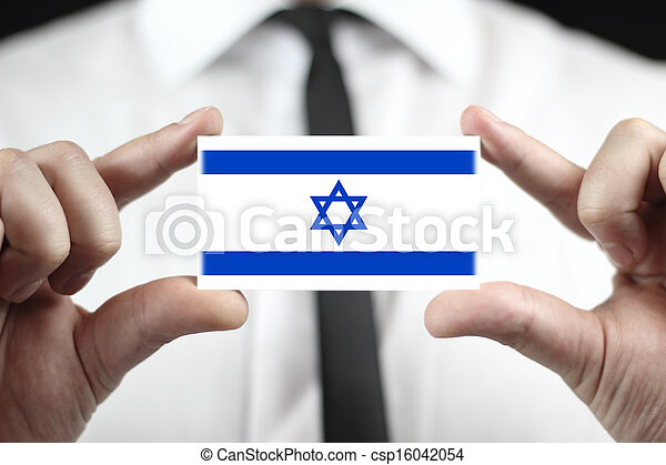 business card with a Israel Flag - csp16042054