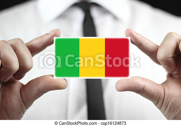 business card with a Mali Flag - csp16124873