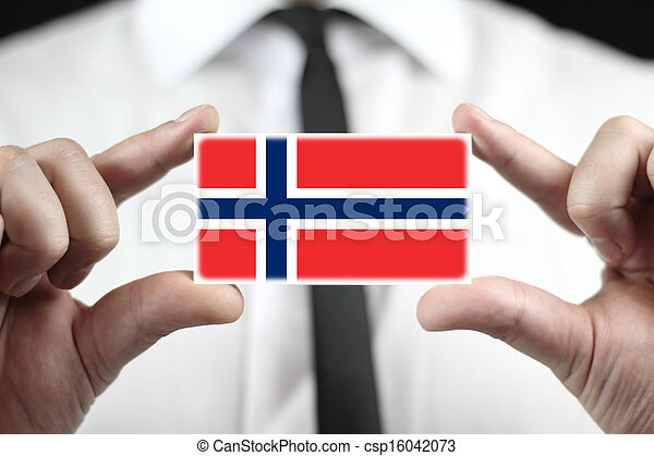 business card with a Norway Flag - csp16042073