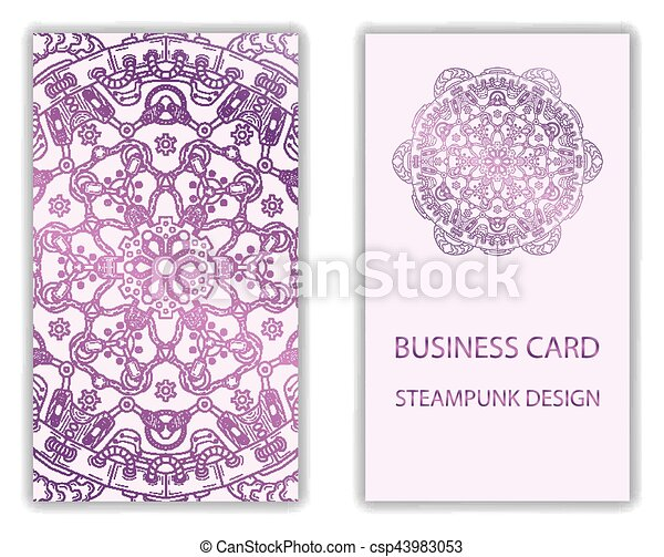 Business Card With Steampunk Design Elements Business Card With