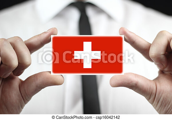 business card with Switzerland Flag - csp16042142
