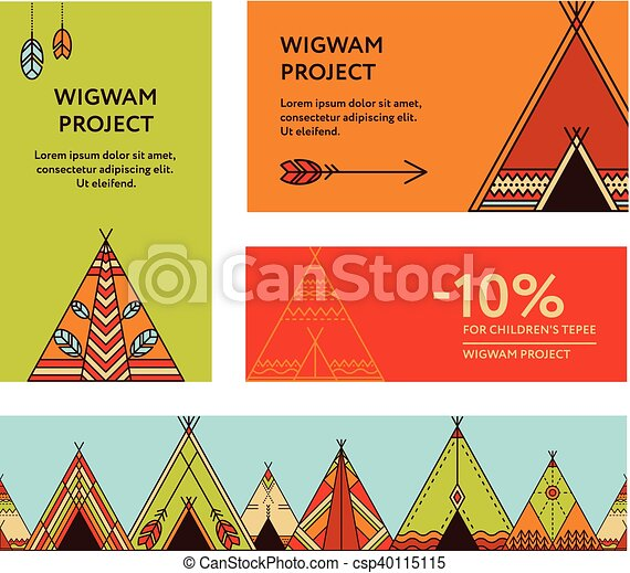 Business cards and promotional flyers with wigwams - csp40115115