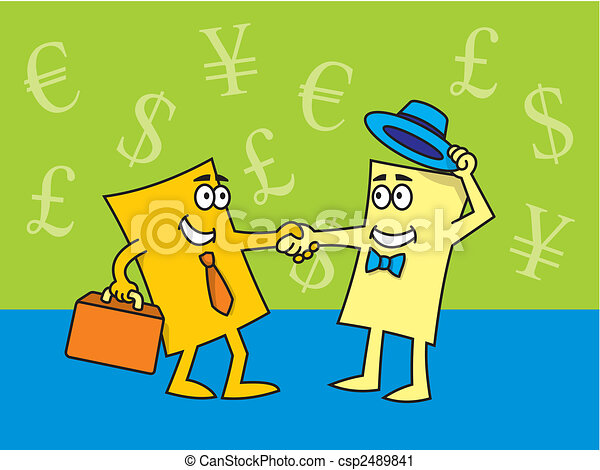 Business cards closing the deal vector illustration of cartoon business cards closing the deal csp2489841 colourmoves