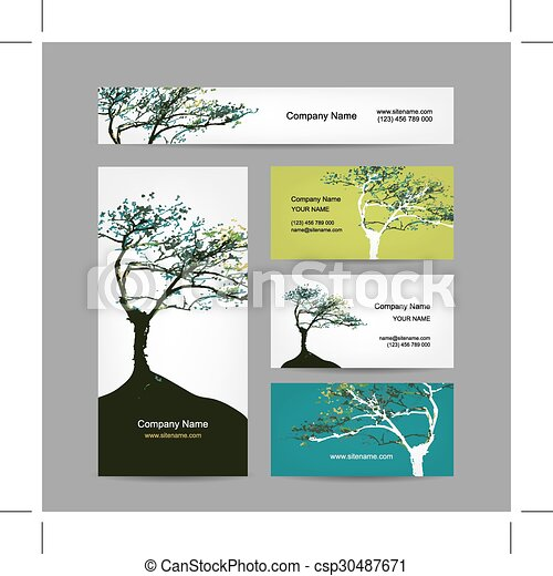 Business cards collection art tree design vector illustration business cards collection art tree design csp30487671 colourmoves