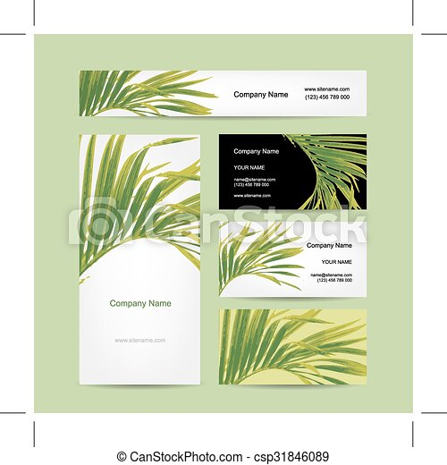 business cards design tropical leaf csp31846089