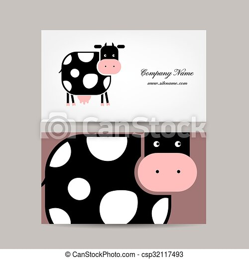 Business cards design with funny cow vector illustration business cards design with funny cow csp32117493 colourmoves