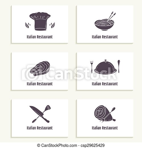 Business cards set with outline style food silhouette template for business cards set with outline style food silhouette template for restaurant or cafe csp29625429 colourmoves
