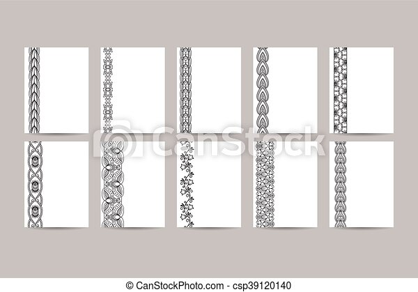 business cards with black ornamental borders vector illustration