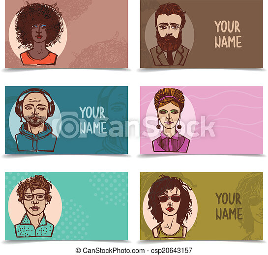 Business Cards With Sketch Faces Sketch Grunge Males And Females