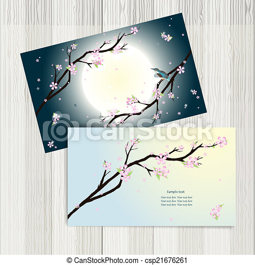 Business Cards With Stylized Cherry Blossom