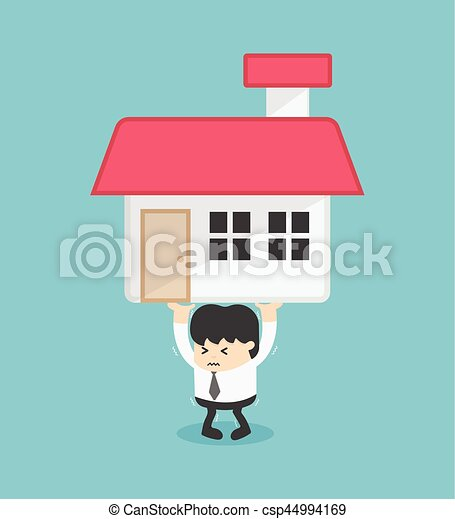 Business carry a heavy home. Business concept Vector illustration - csp44994169