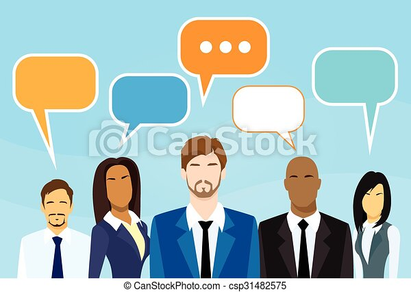 Business cartoon people group talking discussing chat ...