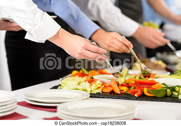 Business catering people take buffet food - csp18238008