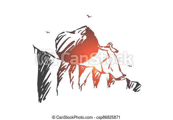 Business challenge, hard work concept sketch. Hand drawn isolated vector - csp86825871