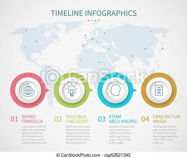 Business Chart Timeline With Process Steps Vector Progress Flow - Process steps template