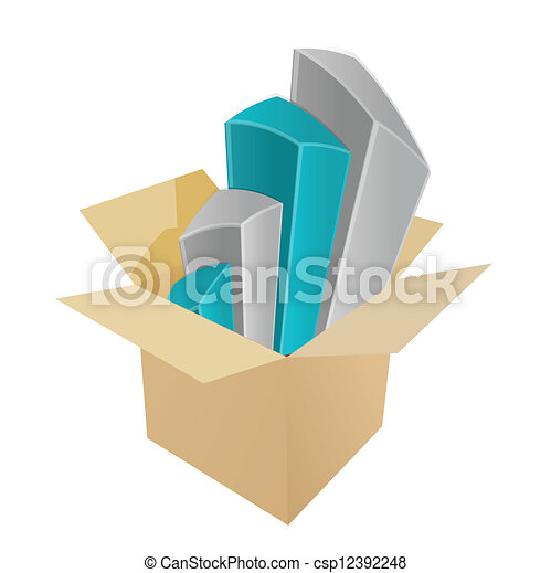 business charts coming out of a box - csp12392248
