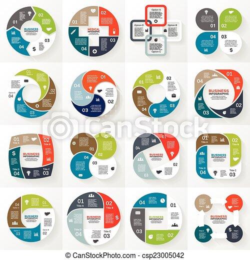 Business circle infographic, diagram 4 options - csp23005042