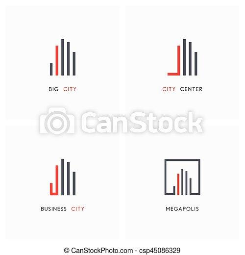 Business city - real estate logo set - csp45086329