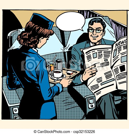 business class plane breakfast stewardess businessman - csp32153226