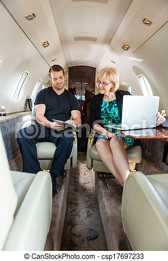Business Colleagues Discussing On Private Jet - csp17697233