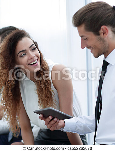 business colleagues with a tablet. - csp52262678