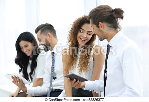 business colleagues with a tablet. - csp53826377