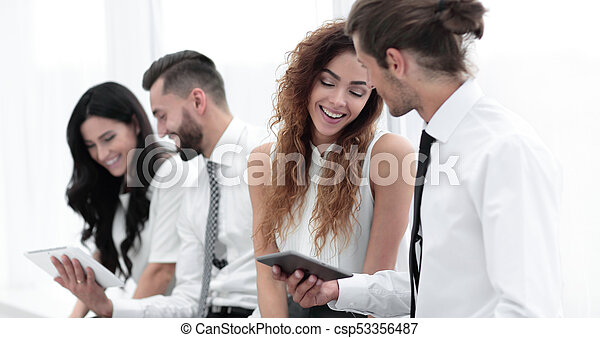 business colleagues with a tablet. - csp53356487