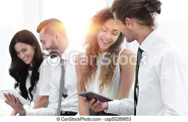 business colleagues with a tablet. - csp55289853