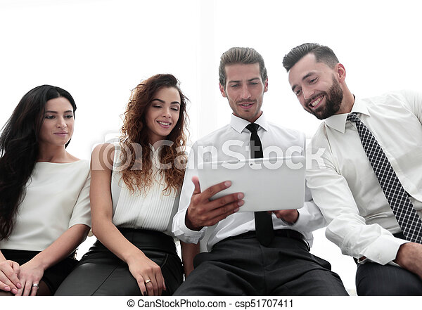 business colleagues with digital tablet. - csp51707411